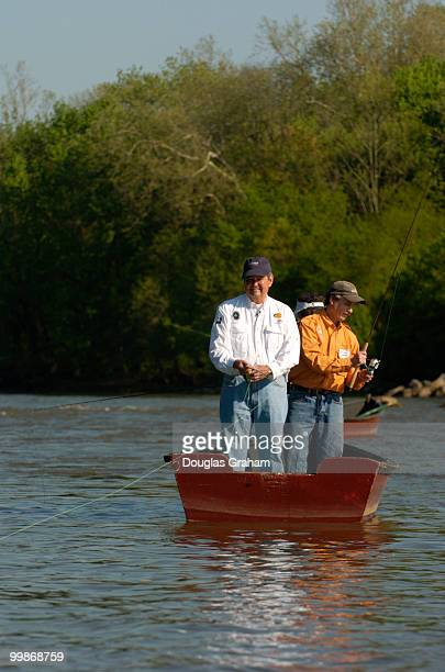 Clay Shaw RFL and his wife Emilie fly fish for hickory shad during the Congressional Sportsmen's Foundation annual shad fishing event on the Potomac...