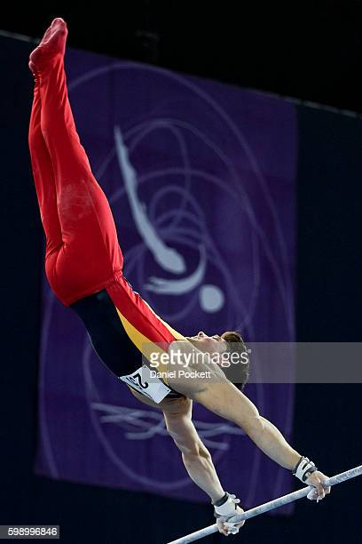 Clay Stephens of SA competes on the High Bar during the Australian Gymnastic Championships Mens and Womens All Round Final on May 22 2015 in...