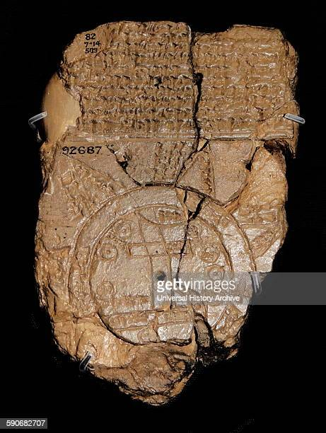Clay tablet depicting a Late Babylonian map of the World Dated 700 BC