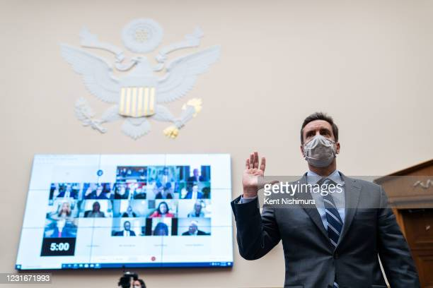 Clay Travis, founder of sports media company Outkick, is sworn in before testifying during a House Judiciary Subcommittee on Antitrust, Commercial,...