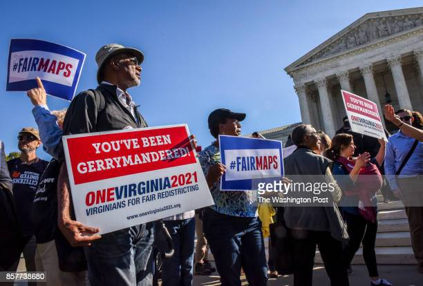 Clay Wilson, of Alexandria, foreground, joins principals and protestors in front of the Supreme Court while the Justices hear arguments on...