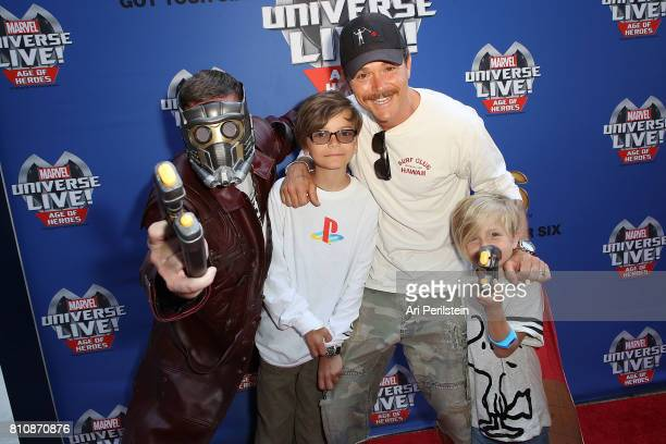 Clayne Crawford and sons arrive at Marvel Universe LIVE Age Of Heroes World Premiere Celebrity Red Carpet Event at Staples Center on July 8 2017 in...