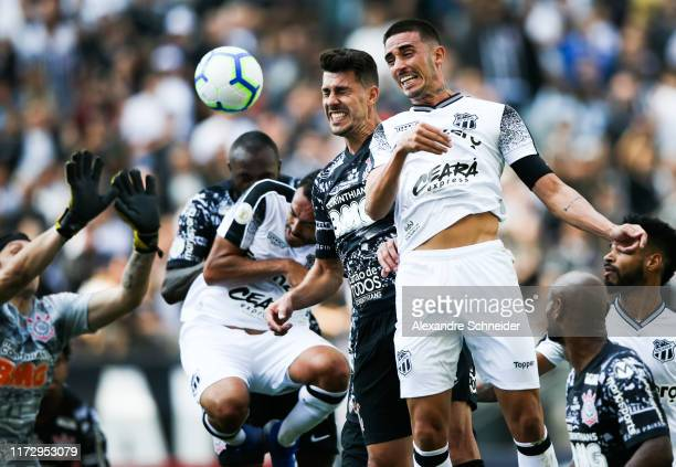 Clayson of Corinthians and Thiago Galhardo of Ceara jump for a header during the match for the Brasileirao Series A 2019 at Arena Corinthians on...