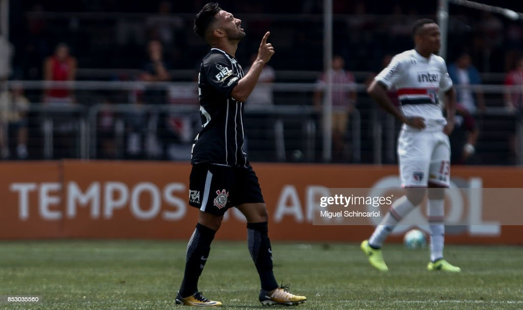 Clayson of Corinthians celebrates his goal during the match between Sao Paulo and Corinthians for the Brasileirao Series A 2017 at Morumbi Stadium on September 24, 2017 in Sao Paulo, Brazil.