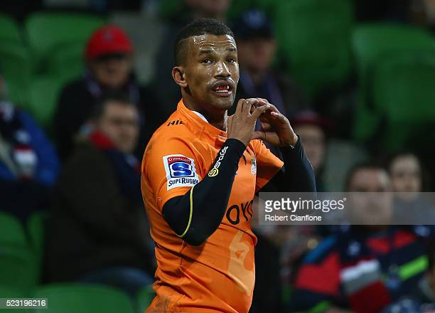 Clayton Blommetjies of the Cheetahs celebrates after scoring a try during the round nine Super Rugby match between the Melbourne Rebels and the...
