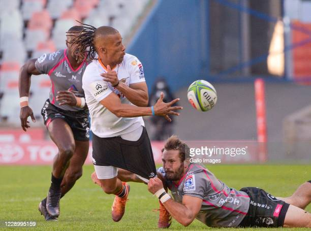 Clayton Blommetjies of Toyota Cheetahs and Eddie Fouche of Pakisa Pumas during the Super Rugby Unlocked match between Toyota Cheetahs and Phakisa...