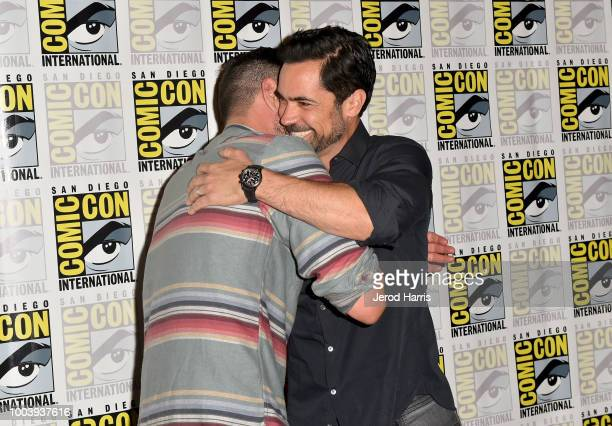 Clayton Cardenas and Danny Pino attend FX's Mayans MC press line during ComicCon International 2018 at Hilton Bayfront on July 22 2018 in San Diego...