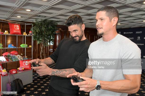 Clayton Cardenas and J D Pardo test their skills on Super Smash Bros Ultimate for Nintendo Switch at the Variety Studio at ComicCon 2018 on July 21...