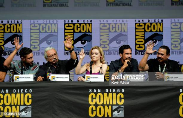 Clayton Cardenas Edward James Olmos Sarah Bolger Danny Pino and Emilio Rivera speak onstage at the Mayans MC discussion and QA during ComicCon...