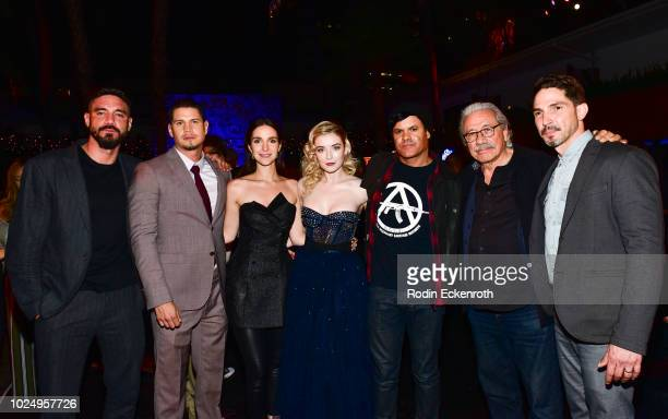 Clayton Cardenas JD Pardo Carla Baratta Sarah Bolger Elgin James Edward James Olmos and Maurice Compte at the premiere of FX's Mayans MC after party...