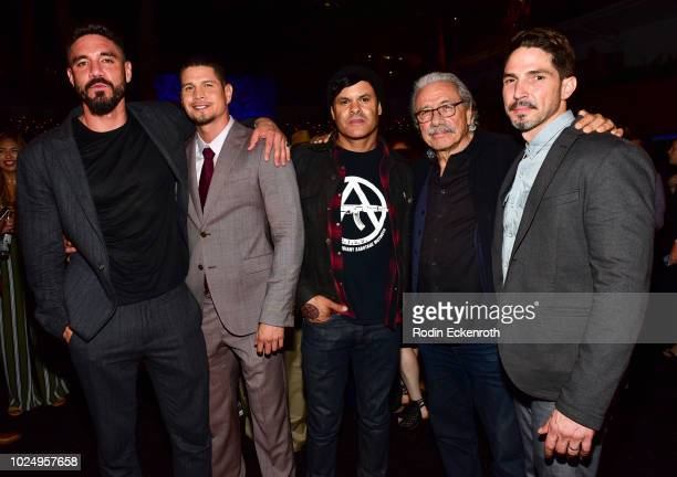 Clayton Cardenas JD Pardo Elgin James Edward James Olmos and Maurice Compte at the premiere of FX's Mayans MC after party on August 28 2018 in...