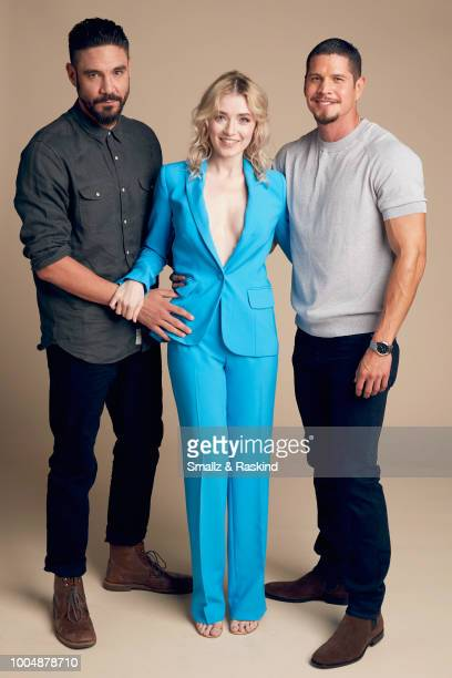 Clayton Cardenas Sarah Bolger and J D Pardo from FX'S 'Mayans MC' pose for a portrait at the Getty Images Portrait Studio powered by Pizza Hut at San...