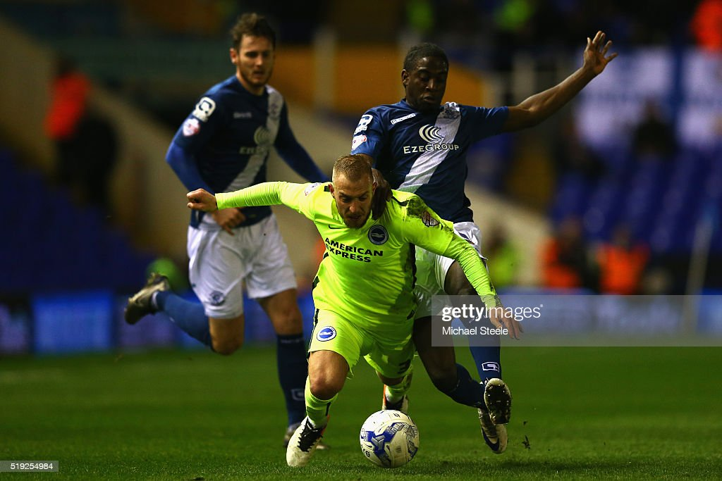 Clayton Donaldson (R) of Birmingham City challenges Jiri Skalak of Brighton and Hove Albion during the Sky Bet Championship match between Birmingham City and Brighton and Hove Albion at St Andrews on April 5, 2016 in Birmingham, United Kingdom.