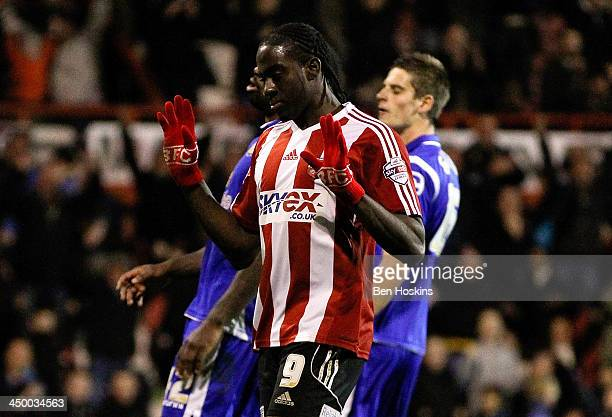 Clayton Donaldson of Brentford celebrates after scoring his team's fifth goal during the Sky Bet League One match between Brentford and Crewe...