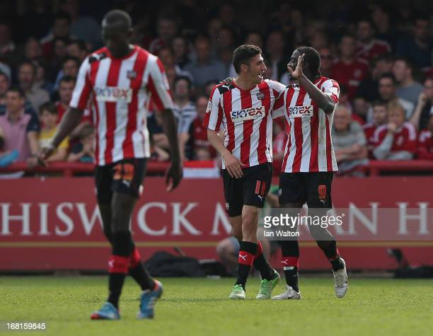 Clayton Donaldson of Brentford celebrates scoring a goal during the npower League One Play Off Semi Final Second Leg match between Brentford and...