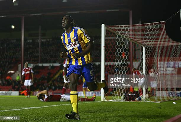 Clayton Donaldson of Brentford celebrates scoring his sides second goal during the Sky Bet League One match between Bristol City and Brentford at...