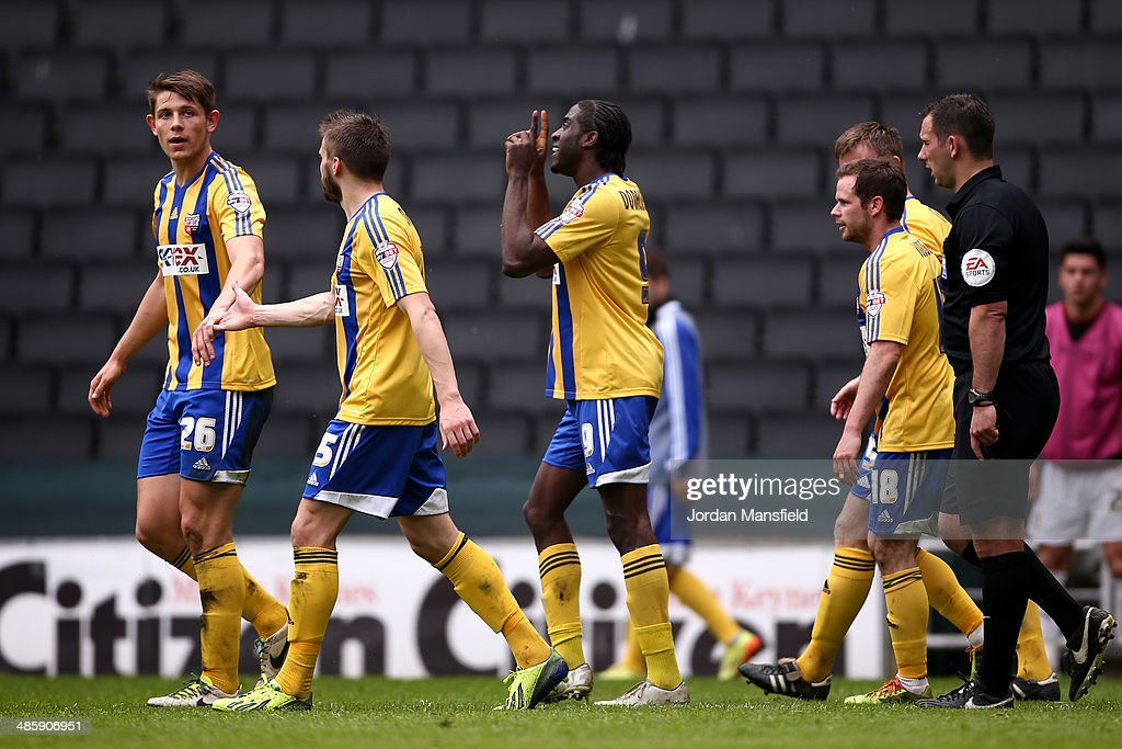 Clayton Donaldson of Brentford FC celebrates after scoring to make it 2-0 during the Sky Bet League One match between MK Dons and Brentford at Stadium mk on April 21, 2014 in Milton Keynes, England.