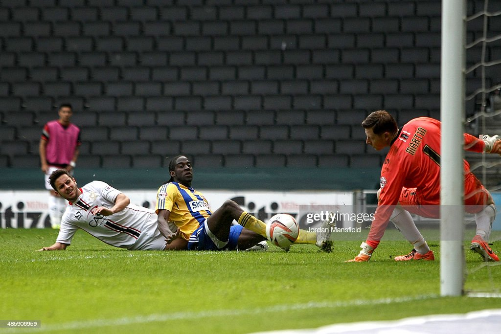 Clayton Donaldson of Brentford FC scores to make it 2-0 during the Sky Bet League One match between MK Dons and Brentford at Stadium mk on April 21, 2014 in Milton Keynes, England.