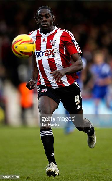 Clayton Donaldson of Brentford in action during the Sky Bet League One match between Brentford and Crewe Alexandra at Griffin Park on November 16...