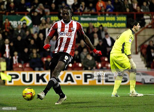 Clayton Donaldson of Brentford scores his team's fourth goal during the Sky Bet League One match between Brentford and Crewe Alexandra at Griffin...