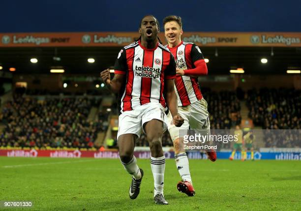 Clayton Donaldson of Sheffield United celebrates scoring his sides second goal during the Sky Bet Championship match between Norwich City and...