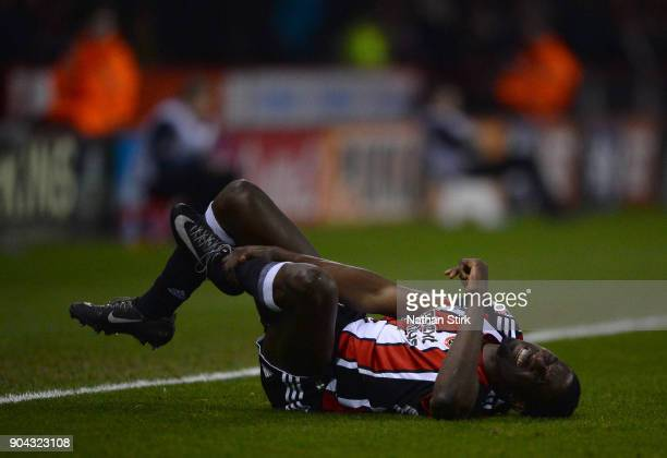 Clayton Donaldson of Sheffield United goes down injured during the Sky Bet Championship match between Sheffield United and Sheffield Wednesday at...