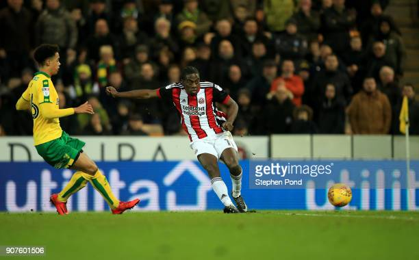 Clayton Donaldson of Sheffield United scores his sides second goal during the Sky Bet Championship match between Norwich City and Sheffield United at...