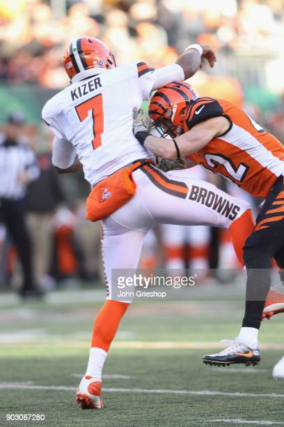 Clayton Fejedelem of the Cincinnati Bengals makes the hit on DeShone Kizer of the Cleveland Browns during their game at Paul Brown Stadium on...