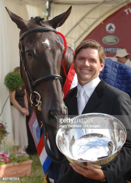Clayton Fredericks with Nullarbor after winning the British Open in the Festival of British Eventing at Gatcombe Park Gloucestershire