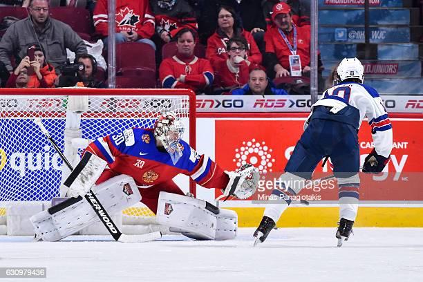 Clayton Keller of Team United States misses his penalty shot on goaltender Ilya Samsonov of Team Russia during the 2017 IIHF World Junior...