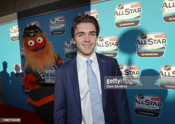 Clayton Keller of the Arizona Coyotes arrives on the red carpet before the 2019 NHL All-Star Skills at the SAP Center on January 25, 2019 in San...
