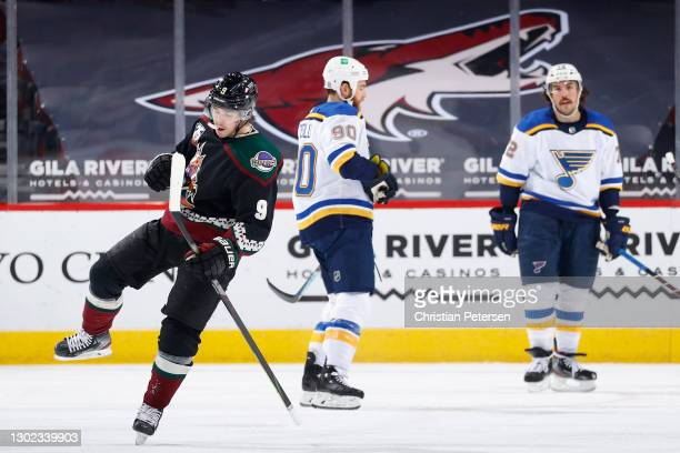 Clayton Keller of the Arizona Coyotes celebrates after scoring a goal against the St. Louis Blues during the second period of the NHL game at Gila...