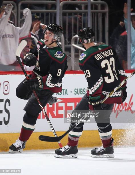 Clayton Keller of the Arizona Coyotes celebrates alongside Alex Goligoski after scoring a goal against the Winnipeg Jets during the second period of...