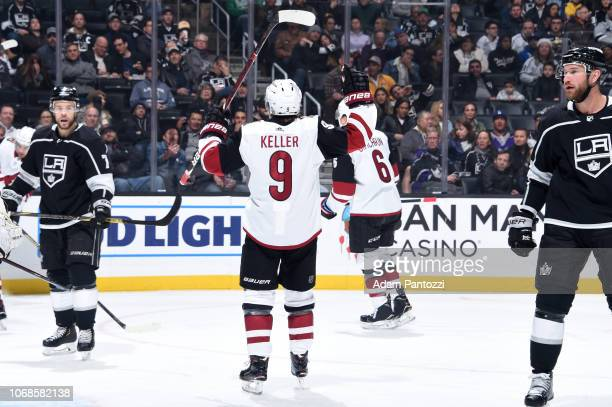 Clayton Keller of the Arizona Coyotes celebrates Nick Schmaltz' not pictured secondperiod goal against the Los Angeles Kings at STAPLES Center on...
