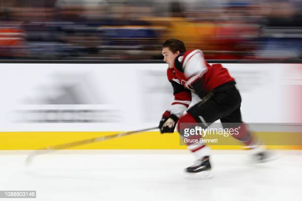 Clayton Keller of the Arizona Coyotes competes in the Bridgestone NHL Fastest Skater during the 2019 SAP NHL AllStar Skills at SAP Center on January...