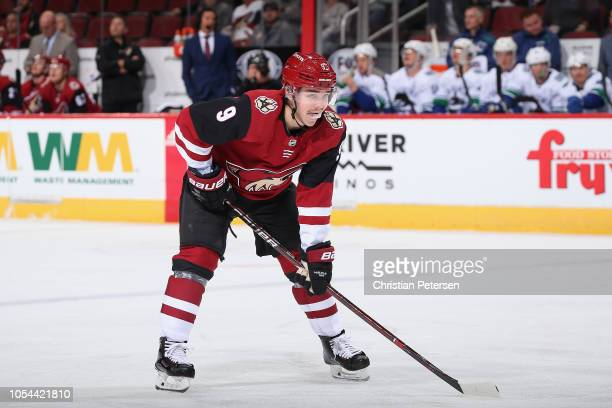 Clayton Keller of the Arizona Coyotes during the NHL game against the Vancouver Canucks at Gila River Arena on October 25 2018 in Glendale Arizona...