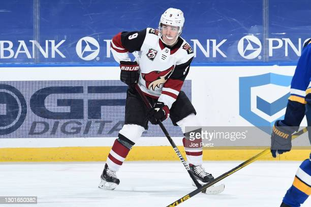 Clayton Keller of the Arizona Coyotes in action against the St. Louis Blues at Enterprise Center on February 8, 2021 at the Enterprise Center in St....