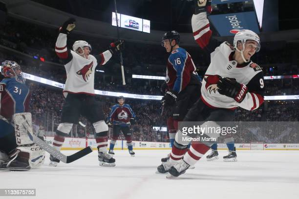 Clayton Keller of the Arizona Coyotes reacts to a goal against the Colorado Avalanche at the Pepsi Center on March 29, 2019 in Denver, Colorado. The...