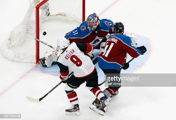 Clayton Keller of the Arizona Coyotes scores at 651 of the third period against Philipp Grubauer of the Colorado Avalanche in Game Five of the...