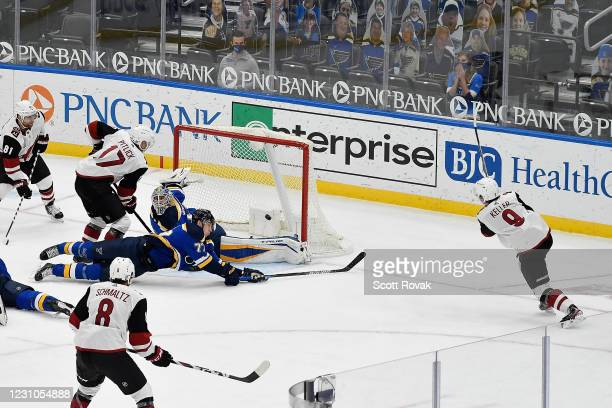 Clayton Keller of the Arizona Coyotes scores the game tying goal against the St. Louis Blues at Enterprise Center on February 8, 2021 at the...