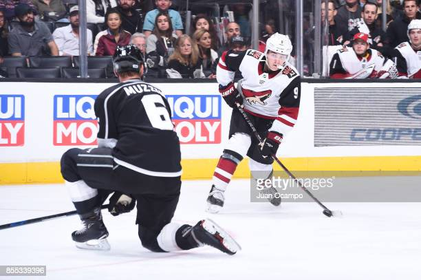 Clayton Keller of the Arizona Coyotes shoots the puck during a game against the Los Angeles Kings at STAPLES Center on September 28 2017 in Los...