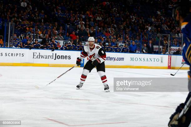 Clayton Keller of the Arizona Coyotes skates against the St. Louis Blues at the Scottrade Center on March 27, 2017 in St. Louis, Missouri.