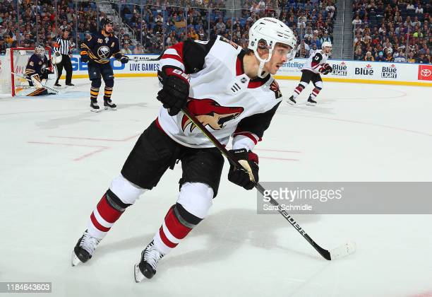 Clayton Keller of the Arizona Coyotes skates during an NHL game against the Buffalo Sabres on October 28, 2019 at KeyBank Center in Buffalo, New York.