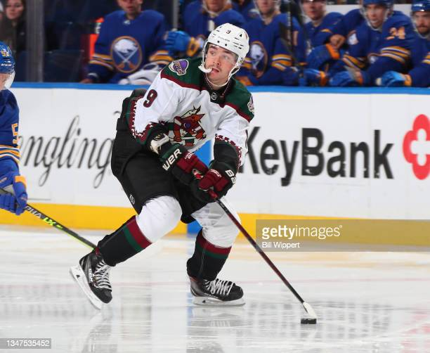 Clayton Keller of the Arizona Coyotes skates during an NHL game against the Buffalo Sabres on October 16, 2021 at KeyBank Center in Buffalo, New York.