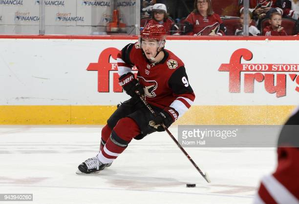 Clayton Keller of the Arizona Coyotes skates with the puck against the Anaheim Ducks at Gila River Arena on April 7 2018 in Glendale Arizona
