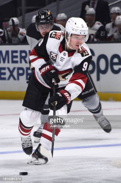 Clayton Keller of the Arizona Coyotes skates with the puck during the first period against the Los Angeles Kings at STAPLES Center on April 24, 2021...