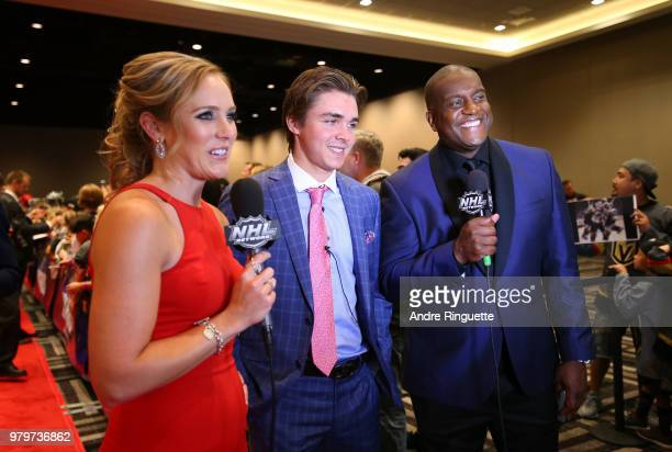 Clayton Keller of the Arizona Coyotes speaks with NHL Network sportscasters Jamie Hersch and Kevin Weekes as Keller arrives at the 2018 NHL Awards...