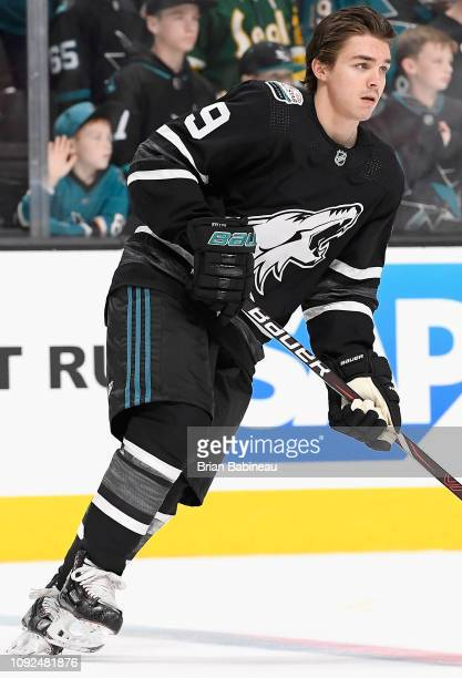 Clayton Keller of the Arizona Coyotes warms up before the 2019 Honda NHL All-Star Game at SAP Center on January 26, 2019 in San Jose, California.
