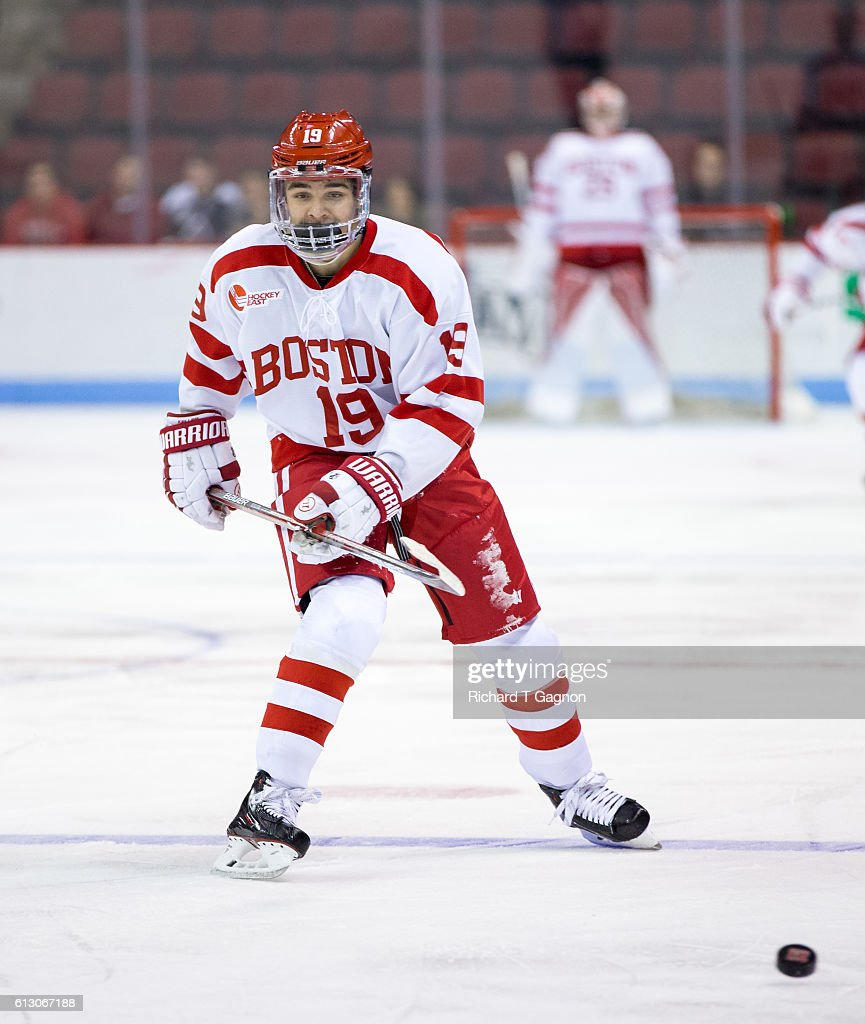 Clayton Keller #19 of the Boston University Terriers skates during NCAA exhibition hockey against the U.S. National Under-18 Team at Agganis Arena on October 6, 2016 in Boston, Massachusetts. The Terriers won 8-2.