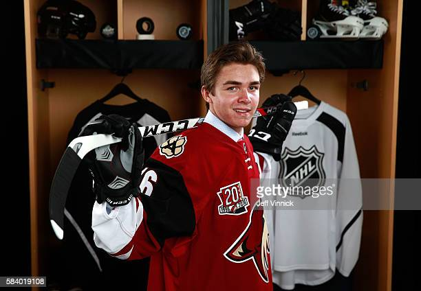 Clayton Keller, selected seventh overall by the Arizona Coyotes, poses for a portrait during round one of the 2016 NHL Draft at First Niagara Center...
